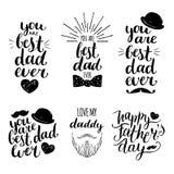 Счастливые установленные логотипы дня отцов винтажные Vector собрание каллиграфии, вы самый лучший папа всегда, полюбите меня пап иллюстрация вектора
