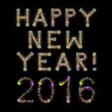 Счастливые фейерверки Нового Года 2016 красочные сверкная придают квадратную форму черному sk стоковая фотография rf