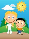 Счастливые физиотерапевт и ребенок в кресло-коляске Стоковые Изображения RF