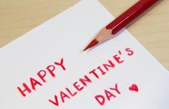 Счастливые формулировки дня валентинки с карандашем цвета Стоковое Изображение