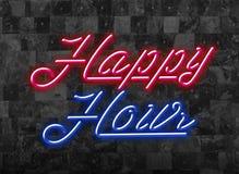 Счастливые часы в Glooming красный и голубой неоновый шрифт перед темной стеной стоковое изображение rf