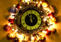 Счастливые часы полночи Нового Года 2017 Стоковое Фото