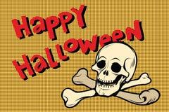 Счастливые череп и косточки хеллоуина иллюстрация вектора