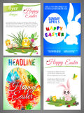 Счастливые шаблоны рогульки пасхи установили newborn chiken и кролик, голубое яичко в волне, силуэт кролика и яичко Стоковые Фото