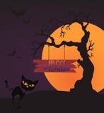 Счастливые шаблон карточки хеллоуина, смешивание, луна и дерево, иллюстрация вектора Стоковое Изображение
