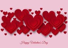 Счастливые элементы украшения дня валентинок с красными бумажными сердцами Стоковые Изображения