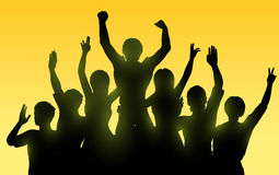 счастливые люди silhouettes время захода солнца иллюстрация вектора