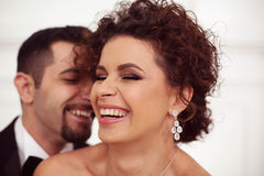 Счастливые Bridal пары Стоковая Фотография RF