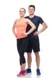 Счастливые sportive человек и женщина стоковая фотография rf