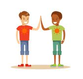 Счастливый давать одноклассников высоко--5 иллюстрация штока