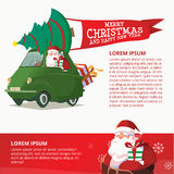 Счастливый автомобиль зеленого цвета Нового Года с шаблоном дизайна Санта Клауса Стоковая Фотография RF