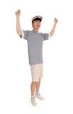 Счастливый азиатский человек при поднятые оружия Стоковая Фотография