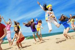 Счастливый активный скакать детей Стоковое фото RF
