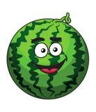 Счастливый арбуз зеленого цвета шаржа Стоковое Фото