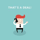 Счастливый бизнесмен говоря телефоном Иллюстрация вектора