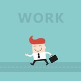 Счастливый бизнесмен идет работать симпатичный персонаж из мультфильма Иллюстрация штока