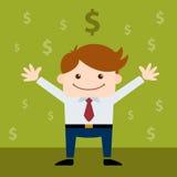 Счастливый бизнесмен окруженный знаком доллара Стоковое Изображение