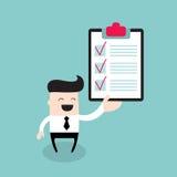 Счастливый бизнесмен с концепцией дела контрольного списока успешной Иллюстрация штока