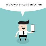 Счастливый бизнесмен с умным телефоном сила  Иллюстрация вектора