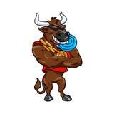 Счастливый бык шаржа с голубым Frisbee Стоковое Изображение