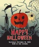 Счастливый вектор плаката партии тыквы предпосылки хеллоуина Стоковая Фотография