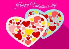 Счастливый вектор сердца пар дня валентинки Стоковая Фотография