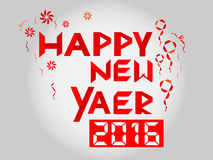 Счастливый вектор текста ленты цифров Нового Года 2016 Стоковая Фотография