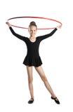 Счастливый гимнаст девушки с обручем Стоковые Изображения RF