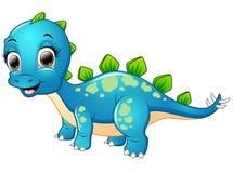 Счастливый голубой шарж динозавра иллюстрация вектора