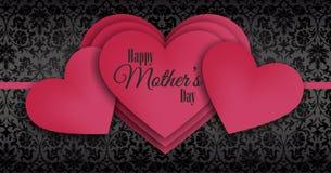 Счастливый День матери, перекрывая серия красных сердец Стоковые Фотографии RF