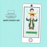 Счастливый День отца с линейным символом стиля Стоковое Фото