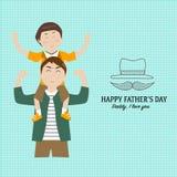 Счастливый День отца с линейным символом стиля Стоковые Фотографии RF