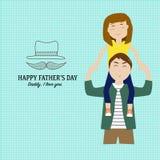 Счастливый День отца с линейным символом стиля Стоковые Изображения RF
