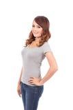 Счастливый девочка-подросток в пустой серой футболке Стоковые Изображения