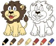 Счастливый лев шаржа Иллюстрация книжка-раскраски вектора Стоковое Фото