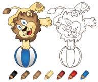 Счастливый лев шаржа Иллюстрация книжка-раскраски вектора Стоковое Изображение