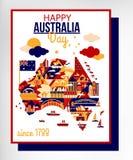 Счастливый день Австралии иллюстрация штока