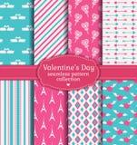Счастливый день валентинки! Комплект влюбленности и романтичной безшовной картины Стоковые Изображения
