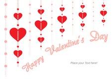 Счастливый день валентинки - красное сердце - предпосылка - поздравительная открытка Стоковое Изображение RF