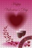 Счастливый день валентинки с 2 стеклами вина Стоковая Фотография
