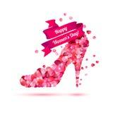 Счастливый день ` s женщины! Праздник 8-ое марта Ботинок высоких пяток иллюстрация штока