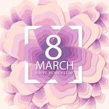 Счастливый день ` s женщин Предпосылка праздника бумажного цветка Стоковые Изображения