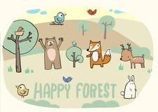 Счастливый лес и смешное животное Стоковая Фотография