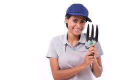 Счастливый женский обслуживающий персонал садовника Стоковое фото RF