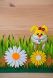 Счастливый зайчик пасхи в гнезде с травой и цветком Стоковое Изображение