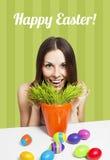 Счастливый зеленый цвет карточки пасхи Стоковое Изображение