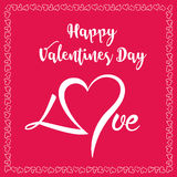 Счастливый знак дня Valentines На красной предпосылке с сердцами в границе Стоковое Изображение RF