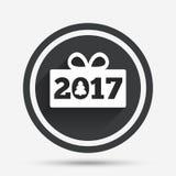 Счастливый значок знака Нового Года 2017 Подарок Кристмас Стоковые Изображения RF