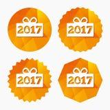 Счастливый значок знака Нового Года 2017 Подарок Кристмас Стоковые Изображения