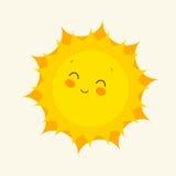 Счастливый значок солнца также вектор иллюстрации притяжки corel Стоковые Изображения